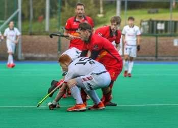 thumbnail Banbridges Eddie Rowe tackled by YMCAs Ben OGrady. Pic Sinead Hingston