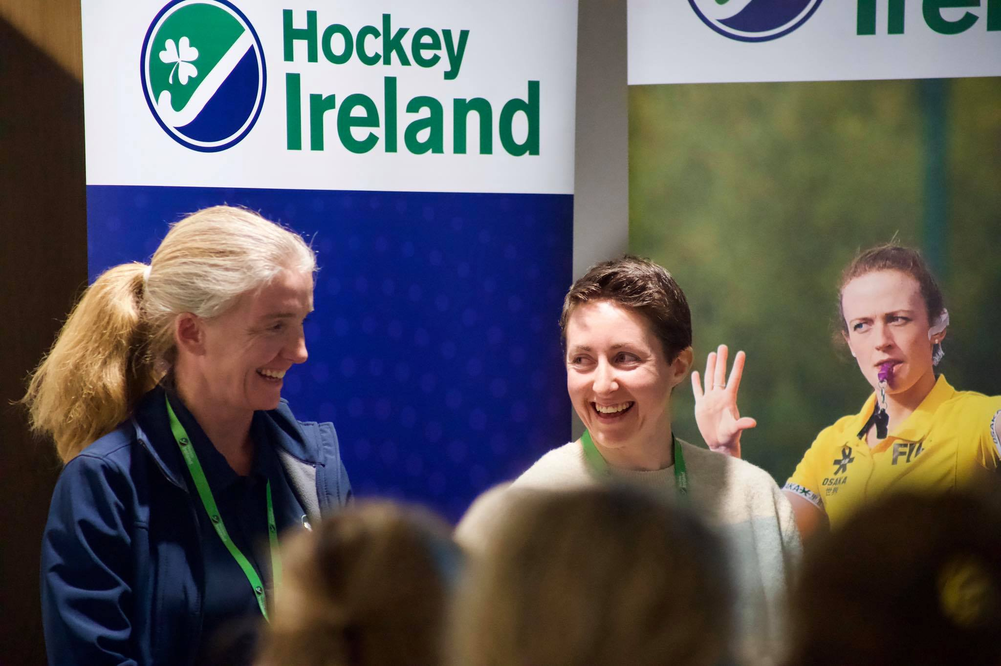 Lisa Jacobs R with Sharon Hutchinson L of Cork Harelquins at the 2019 Hockey Ireland WIS conference