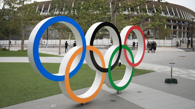 Olympic rings outside Tokyo Olympic stadium