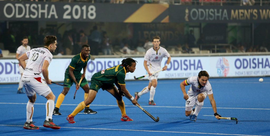 South Africa men in action at the 2018 Hockey World Cup